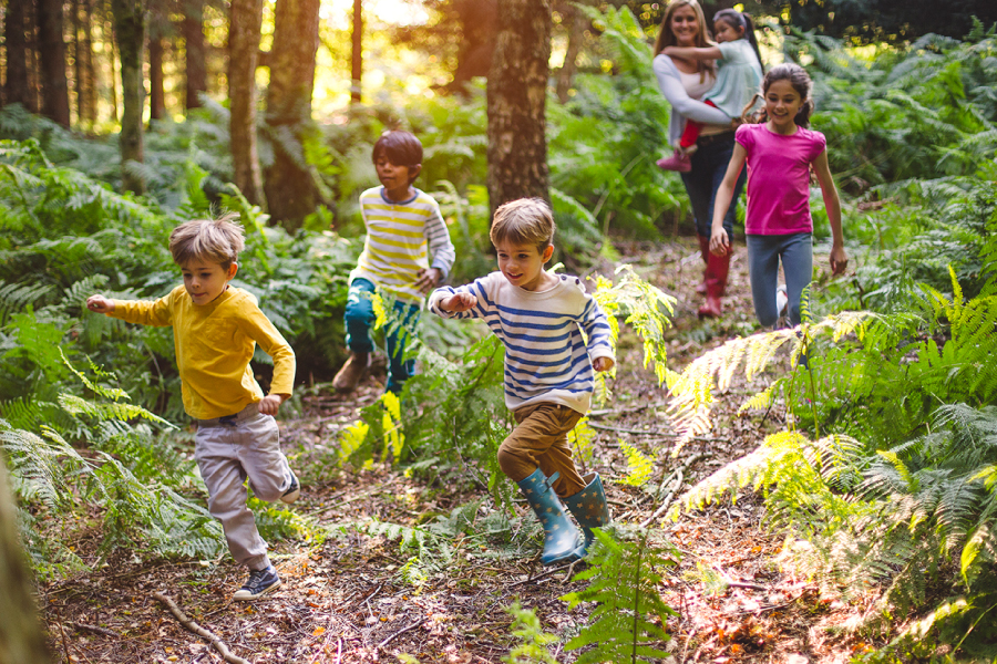 Home 1 – Kids running in forest